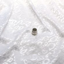 White Leopard Spot 4 Way Knitted Fabric Remnant 1m